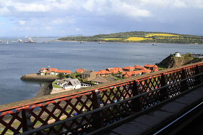 View towards Edinburgh (Arthurs Seat can just be seen in the distance) as we cross the Forth Bridge - 11/05/15.