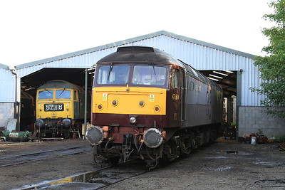 47804 stands outside the diesel depot, whilst BR-blue 47270 can be seen within - 15/07/15.