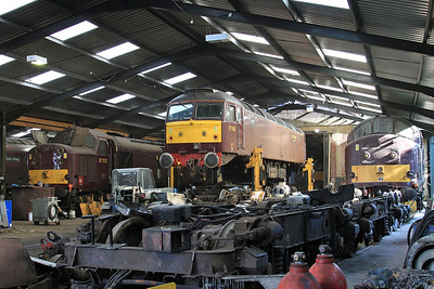 37712, 57001 (lifted off its bogies for maintenance) & 37676 (Stored) inside the diesel depot - 15/07/15.