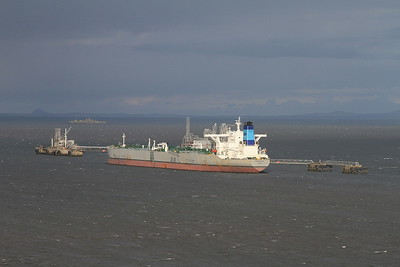Greek Oil tanker 'Maran Thetis' being loaded with North Sea Crude Oil at 'Hound Point' terminal, Firth of Forth - 22/04/16.