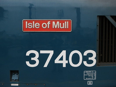 37403 sporting 'Isle of Mull' nameplates that it previously carried between 1986 and 1988 - 15/10/16.