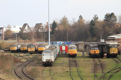 UKRL's depot at Leicester, with 56032, 56069, 56077, 56038, 56081, 56301 & 37906 visible - 27/02/16.