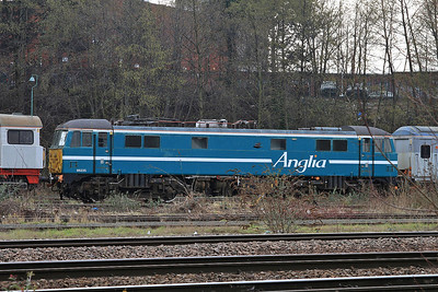 86235, still in Anglia livery, awaits overhaul & probable export, UKRL depot, Leicester - 27/02/16.
