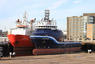 Offshore Supply Ships 'Malaviya Seven' & 'Highland Defender' berthed in Aberdeen harbour - 17/09/16.