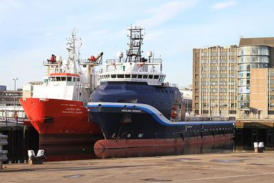 Offshore Supply Ships 'Malaviya Seven' & 'Highland Defender' berthed in Aberdeen harbour - 17/09/16.