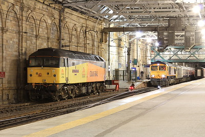 47739 (Sleeper Thunderbird) stabled at Edinburgh Waverley ..... 66737 + 73971 have just arrived on 1M16 20.44 Inverness-Euston - 02/12/16.