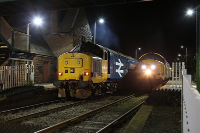 37401 passing 37402 at St. Bees, 2C42 17.37 Carlisle-Barrow / 2C47 17.31 Barrow-Carlisle - 09/11/17.