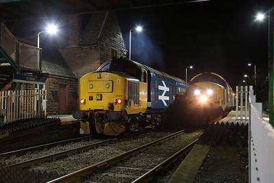 37401 passing 37402 at St. Bees, 2C42 17.37 Carlisle-Barrow / 2C47 17.31 Barrow-Carlisle - 09/11/17.