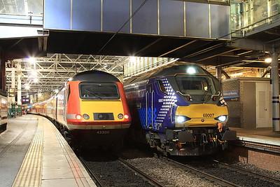 43306 / 68007, Edinburgh Waverley, on rear of 1S22 15.00 London Kings Cross-Stirling / 2K14 18.15 ex Glenrothes with Thornton - 31/01/17.