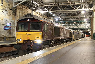 66743 (+ 73971 for ETS), Edinburgh Waverley, having just been detached from 1B16 2143 portion ex Aberdeen - 01/02/17.