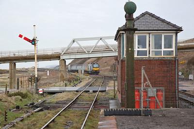 68017 (68004 rear) dep Sellafield, on rear of 2C41 14.37 Barrow-Carlisle - 06/04/18