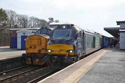 37402 / 68017, Barrow, 2C49 11.40 to Carlisle / 2C47 10.03 ex Preston - 06/04/18