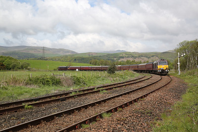 67005 (67006 rear) approaching Foxfield, 1Z56 05.56 Dundee-Grange over Sands SRPS charter - 12/05/18