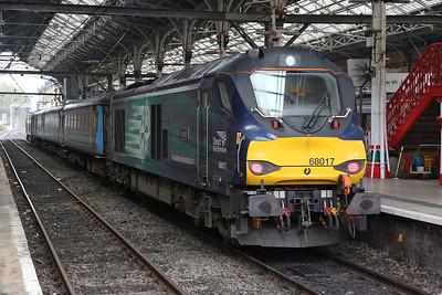 68017 (68004 rear), Preston, 2C47 10.03 to Barrow - 27/04/18