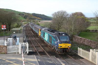 68004 (68017 rear) arr St. Bees, 2C42 17.37 Carlisle-Barrow - 27/04/18