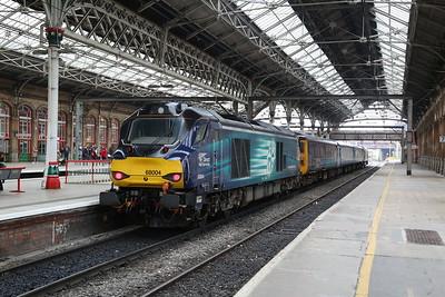 68004 (68017 front), Preston, on rear of 2C47 10.03 to Barrow - 27/04/18