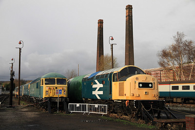 56006 (now for scrap) & 40145 in the yard at BH awaiting repairs to be completed on it's main generator - 04/12/2011.