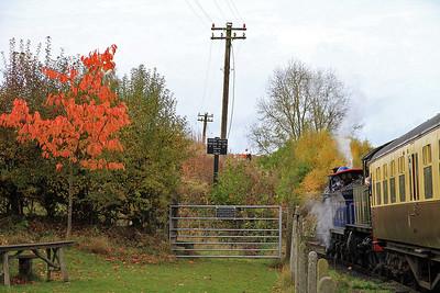 828 / 4566 at Arley on the 12.15 Kidderminster-Bridgnorth - 30/10/11.