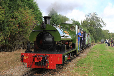 No.1 'Harrogate' (P 2050/1944, ex Harrogate Gasworks) arr Oak Tree Halt on a demonstration freight ex Statfold - 17/09/11.