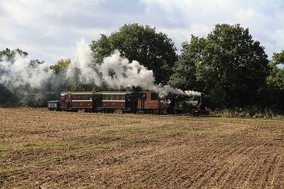 'Jack Lane' (New-Build Hunslet 3904/2006) + 'Sragi No.1' (Krauss 4045/1899, ex Sragi Sugar Mill, Indonesia) arr Oak Tree Halt on a passenger train to Statfold - 17/09/11.