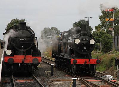 31806, Kidderminster, 07.18 ex Bridgnorth - 30120 having piloted this train now running round - 23/09/12.