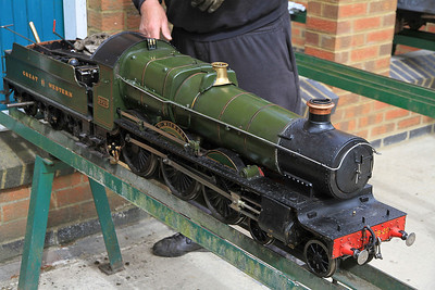 5 inch gauge 'Saint' 2920 being readied for action,  Quainton Rd. - 05/05/13.