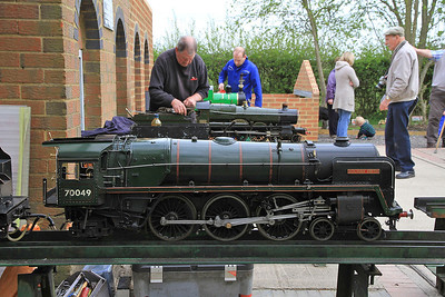 5 inch gauge 'Brit' 70049 & 'Saint' 2920 being readied for action,  Quainton Rd. - 05/05/13.