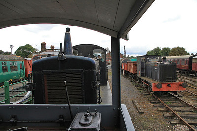 View from the BV as we ride behind D2279 and pass AMW 144 (AB 333/1938, Ex Air Ministry Hartlebury, Worcestershire) in the yard at Chappel & Wakes Colne  - 05/10/13.