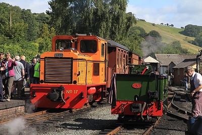 W&L No.17 (Diema 4270/1979, Ex San-hua Sugar Works Railway, Taiwan, no.175), Llanfair Caereinion,  P6 10.00 ex Welshpool, W&L No.8 'Dougal' (AB 2207/1946, Ex Provan Gasworks) is on display.  - 31/08/13.