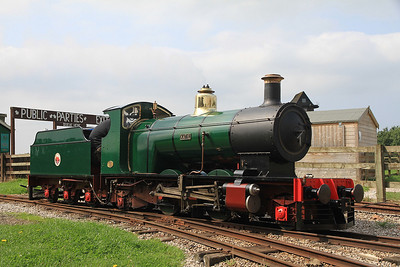 'Katie' (G&SLE 14/1954), Windmill Farm, being readied to work the next passenger service  - 25/08/13.