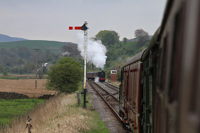 as we arrive at Stoneacre loop, 52322 can be seen arriving at the other end on the 11.00 Bolton Abbey-Bow Bridge  - 04/05/14.