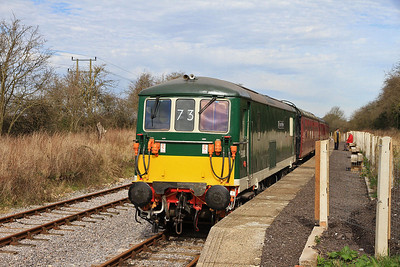 E6003 (73003), Taw Valley Halt, 10.36 ex Hayes Knoll - 15/03/14.