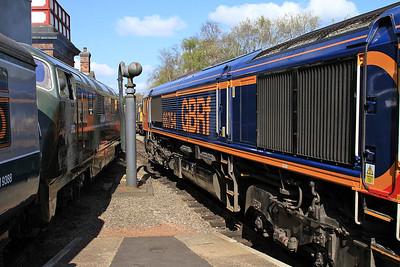 D832 & 66754 await departure from 'Roundhouse Halt' - 18/04/15.