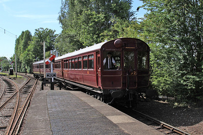 Steam Railmotor 93, propelling coach 92, arrives at 'Burlescombe' station - 22/08/15.
