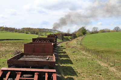 View from the BV as 47 'Moorbarrow' (RSHN 7849/1955) leaves Stoneacre Loop with the 13.30 'Goods' to Bow Bridge - 04/05/15.