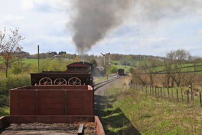 View from the BV as 47 'Moorbarrow' (RSHN 7849/1955) approaches Stoneacre Loop with the 13.30 'Goods' to Bow Bridge - 04/05/15.