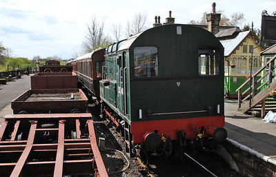arriving at Embsay on the goods, as D3941 (08773) is ready to leave on the 14.00 to Bolton Abbey - 04/05/15.
