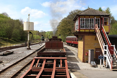 View from the BV as 47 'Moorbarrow' (RSHN 7849/1955) leaves Bolton Abbey with the 13.30 'Goods' to Bow Bridge - 04/05/15.