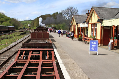 View from the BV as 47 'Moorbarrow' (RSHN 7849/1955) is about to leave Bolton Abbey with the 13.30 'Goods' to Bow Bridge - 04/05/15.