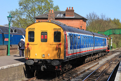 DEMU 205205 with 08483 on the front, North Weald, 2N10 15.50 to Ongar - 18/04/15.