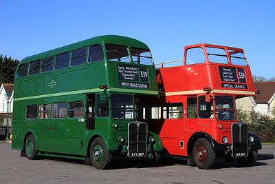 London Bus Companys' AEC Regent III's RT3238 (KYY 967, ex-Green Line) & RT3435 (LYR854, ex-LT), North Weald, employed on shuttles to Epping - 18/04/15.