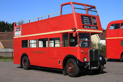London Bus Companys' AEC Regent III RT3435 (LYR854, ex-LT), North Weald, employed on shuttles to Epping - 18/04/15.