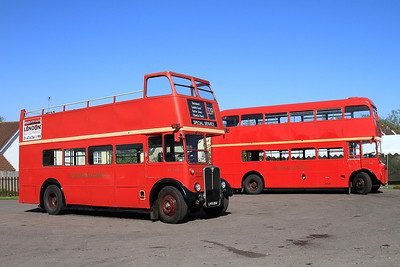 London Bus Companys' AEC Regent III RT3435 (LYR854, ex-LT) & AEC Routemaster RM1966 (ALD966B, ex-LT), North Weald, employed on shuttles to Epping - 18/04/15.