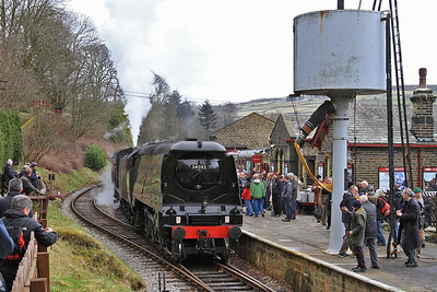 34092+43924, Oxenhope, 13.05 ex Keighley (34092 having topped 43924 from Haworth loop) - 28/02/15.