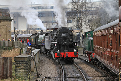 HC 1704/1938 'Nunlow' arr Keighley, 14.57 ex Ingrow West ..... 5820+34092 are ready to depart on the 15.10 to Oxenhope - 28/02/15.