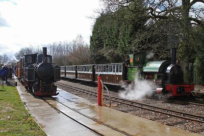 No.9 'Sf.Djatibarang' (Jung 4878/1930, ex Indonesia) & No.2 'Howard' (HE 1842/1936, ex British Aluminium, Fort William - was an 0-4-2ST) pause at Oak Tree Halt on passenger trains to Statfold Junction - 28/03/15.