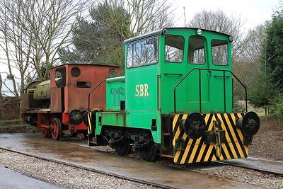 TH 188C/1967 (ex CEGB) & HC 750/1906 (Ex NCB Kiveton Park) awaiting restoration in the standard gauge sidings - 28/03/15.