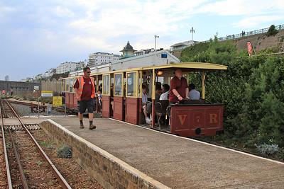 VR cars no.8 & no.7 arrive at Halfway Station, 17.45 Aquarium-Black Rock - 22/08/15.
