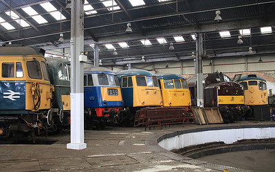 33108, 71001, 83012, 81002, 85006 (85101), 37669 & 26007 inside the roundhouse at Barrow Hill - 27/02/16.