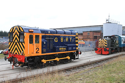08924, Barrow Hill, looking very smart in GBRF colours ...... D2953 is on the rear of the shuttle stock in the 'Roundhouse Halt' platform - 27/02/16.